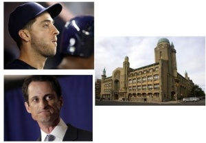 Ryan Braun (top left) and Anthony Weiner (bottom left) are confronting their personal scandals, while Yeshiva University (right) confronts a communal scandal