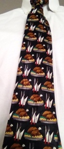 Often Parashat Toldot corresponds with Thanksgiving. The turkeys on this week's tie represent the prominent role of food in the drama of Jacob and Esau.