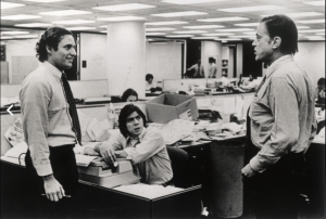 Ben Bradlee (right) with Bob Woodward and Carl Bernstein