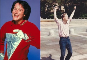 "Robin Williams (1951-2014) as ""Mork"" (circa 1980) and Rabbi Joel Wasser (1963-2014)  on steps of Philadelphia Museum of Art (1987)."