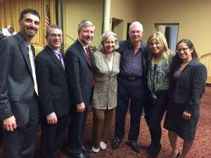 "JTS hosted a panel discussion on ""Keeping Faith in Rabbis,"" Feb. 2, 2015. L to R, Rabbi Ed Bernstein, Rabbi Hayim Herring, Rabbi Daniel Nevins, Barbara Wiston, Jay Wiston, Carolyn Kantor, Rabbi Danielle Upbin"