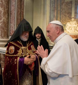 "With Armenian Church leader Catholicos Aram I on April 12, 2015, Pope Francis referred to the World War I-era mass slaughter of Armenian Christians by Ottoman Turks as ""the first genocide of the twentieth century."""