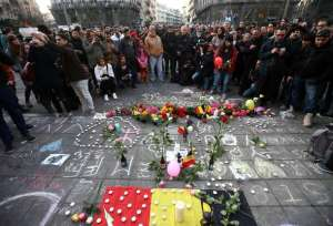 A memorial in Brussels for victims of March 22 terrorist attacks.
