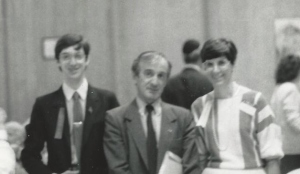 Elie Wiesel spoke at Congregation Rodfei Zedek in Chicago in May, 1987, his first appearance in Chicago after receiving the Nobel Peace Prize. Ed Bernstein (left) was then the youth group president of the synagogue and his mother, Roberta (right), was the synagogue's executive director.